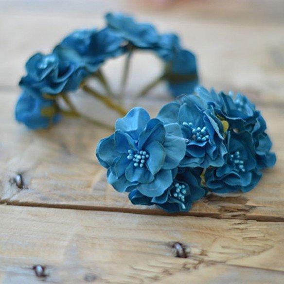 Tige fleur dragée bleu canard