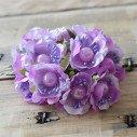 tiges fleur parme coeur perle X12