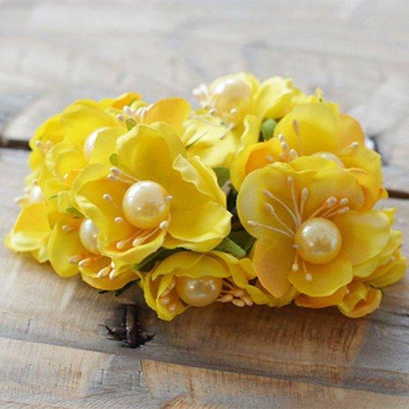 Fleur de dragée jaune avec perle