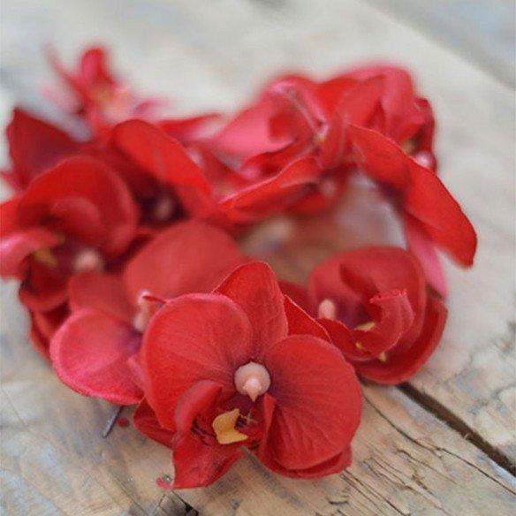 Fleuron d'orchidées rouge