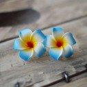 Fleur frangipanier artificielle bleue