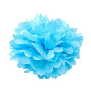 Pompon papier bleu clair 35cm