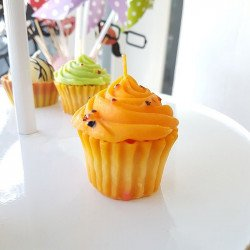 Bougie cupcake orange