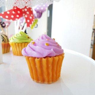 Bougie cupcake parme