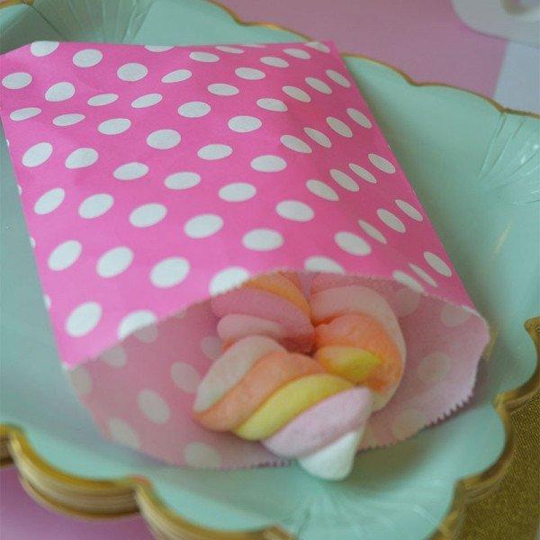 Sachet bonbons fushia à poisX10