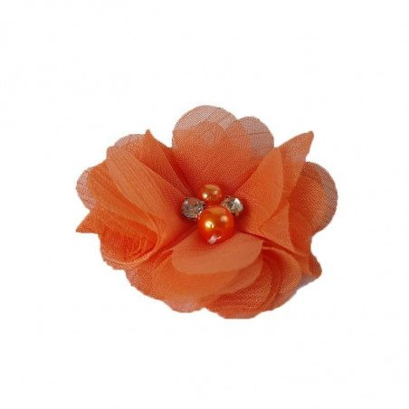 fleur mousseline orange coeur perle