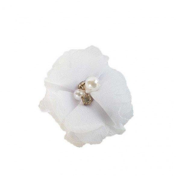fleur mousseline blanche coeur perle
