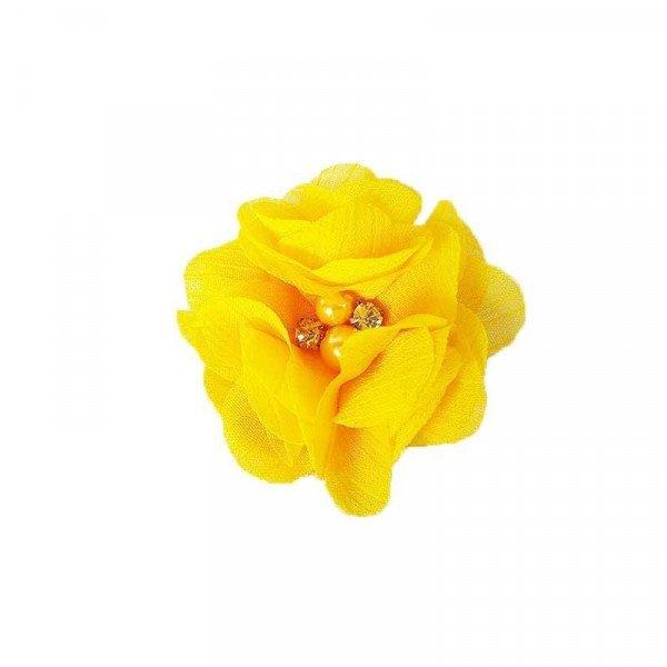 fleur mousseline jaune coeur perle