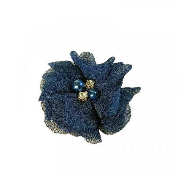 fleur mousseline bleu marine coeur perle