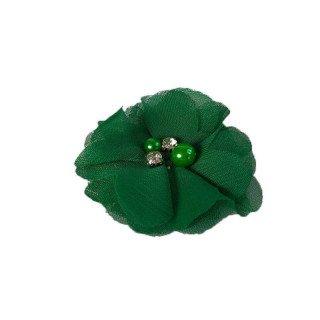 fleur mousseline vert coeur perle