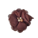 fleur mousseline marron coeur perle