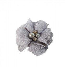 Fleur mousseline gris strass et perles