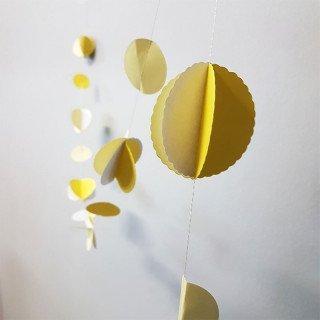 Guirlande papier boule jaune et blanc
