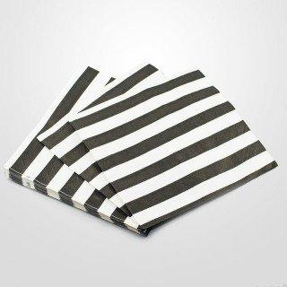 Serviette papier noire à rayures x20