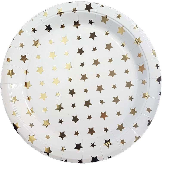 10 assiettes papier blanches étoiles or