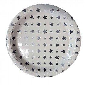 10 assiettes papier blanches étoiles argent