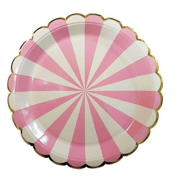 10 assiettes carton rose à rayures