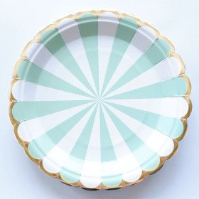 10 assiettes carton vert d'eau à rayures