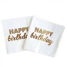 Serviette papier happy birthday blanc et or x20