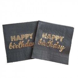 Serviette papier happy birthday noir et or x20