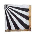 Serviette papier rayures noires bord or x20