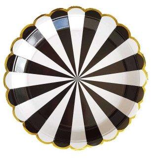 10 assiettes carton noir à rayures