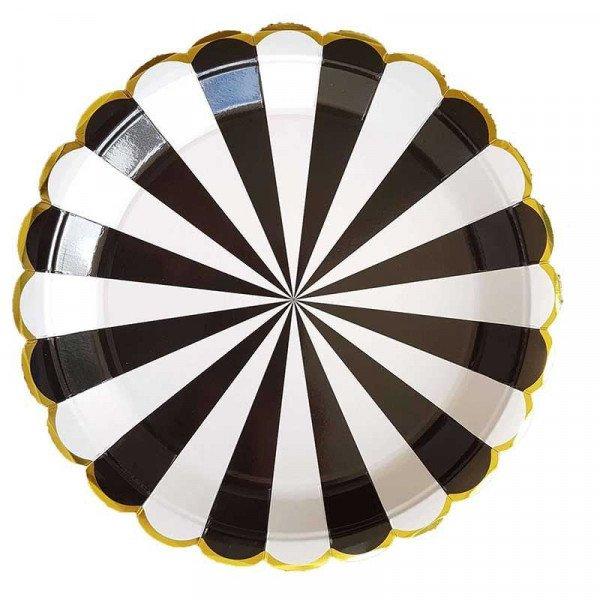 10 assiettes noire à rayures