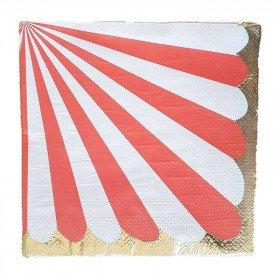 Serviette papier rayures rouge bord or x20