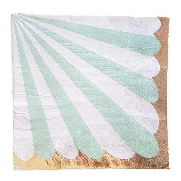 Serviette papier rayures vert d'eau bord doré x20