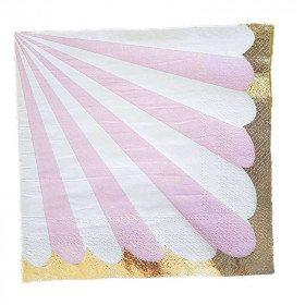 Serviette papier rayures rose bord orx20
