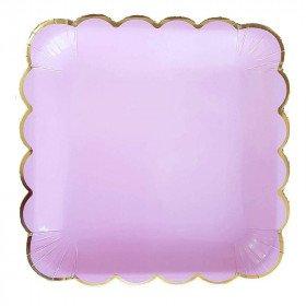 10 assiettes carrée rose pastel