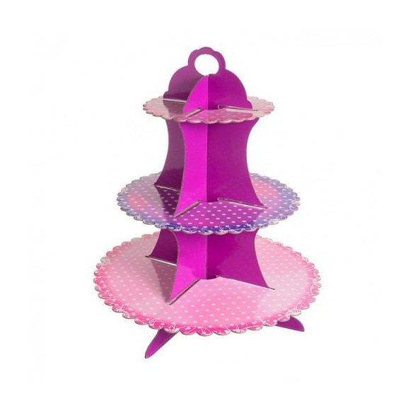 Support cupcake carton fushia et violet à pois