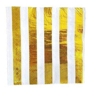 Serviette papier or à rayures x20