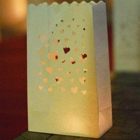 Sachet lanterne coeurs X10