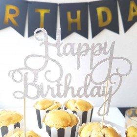 Décoration de gâteau Happy Birthday argenté