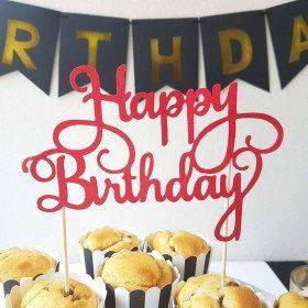 Cake topper, décoration de gâteau Happy Birthday rouge