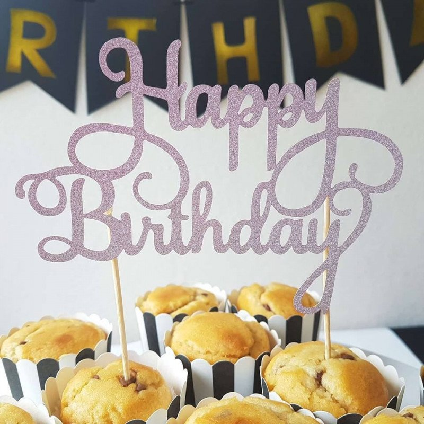 Cake topper Happy Birthday rose