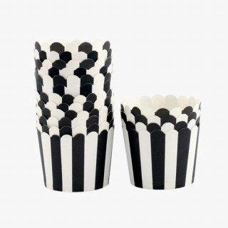 Caissette a cupcake rayés noire, lot de 24