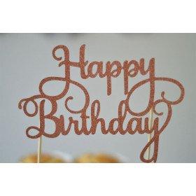 Cake topper Happy Birthday cuivré