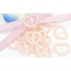 Boucle passe ruban cœur perle parme(sachet de 100)