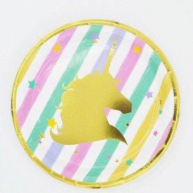 10 petites assiettes ronde licorne pastel