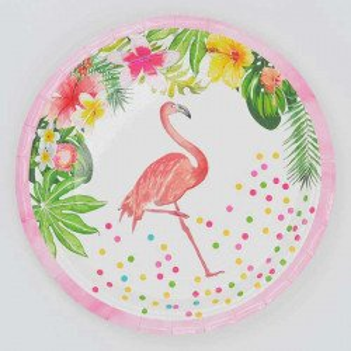 Assiettes en carton flamant rose