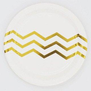 10 petites assiettes blanche 3 chevrons or