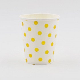 10 gobelets blanc à pois or