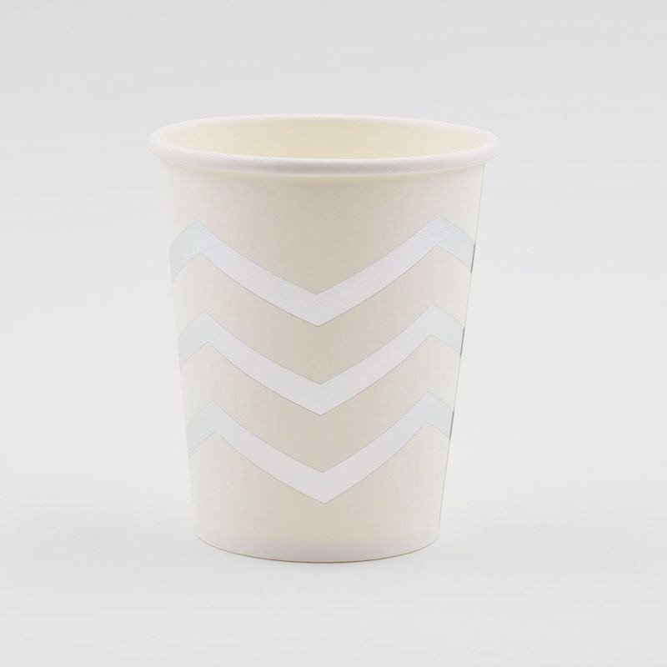 10 gobelets blancs chevron argent