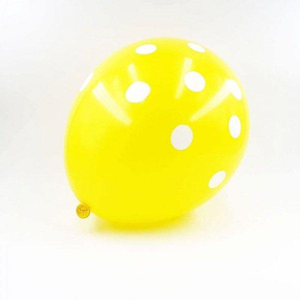 6 ballons jaune à pois