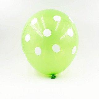 6 ballons vert à pois 30 cm