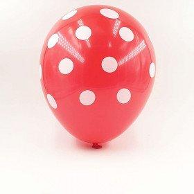 6 ballons rouge à pois 30 cm