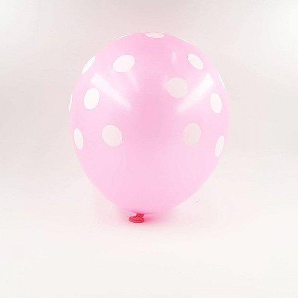 6 ballons rose à pois 30 cm