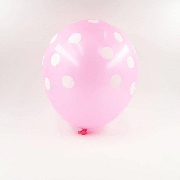 6 ballons roses à pois 30 cm